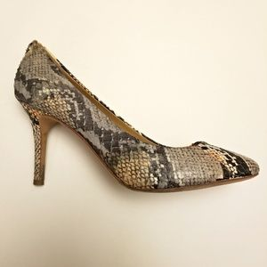 Coach Leather Snakeskin Print Heels 9B